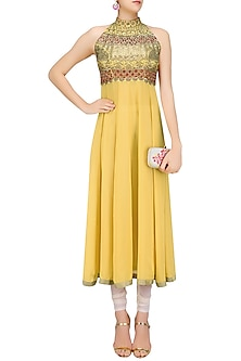 Mustard Stones, Sequins and Zardozi Embroidered Anarkali Kurta by Priya Agarwal