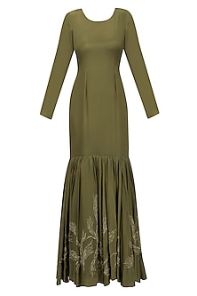 Olive Green and Gold Floral Embroidered Tiered Gown with Waistbelt