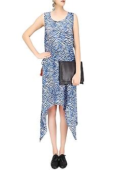 White, Black and Blue Tye and Dye Print Asymmetric Dress by Priya Agarwal