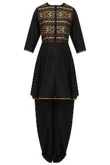 Black embroidered short anarkali kurta and dhoti pants set