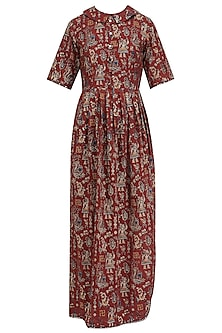 Brown Printed Pleated Maxi Dress