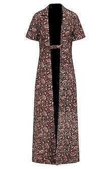 Magenta Shirt Dress with Brown Kalamkari Jacket