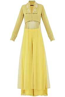 Pastel Yellow Embroidered Kurta with Palazzo Pants