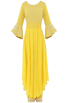 Pastel Yellow Embroidered High-Low Kurta with Pants