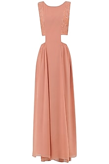 Pastel Peach Embroidered Maxi Dress