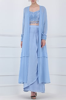 Serenity Blue Embroidered Crop Top with Jacket and Skirt Set by Priya Agarwal