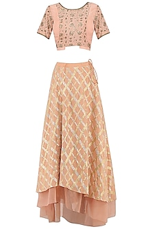 Peach Gota Patti Embroidered Lehenga Skirt Set