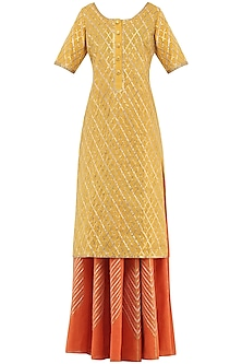 Orange Gota Patti Embroidered Lehenga and Mustard Kurta Set