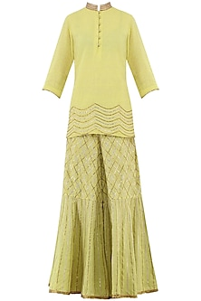 Lime Yellow Gota Patti Embroidered Tunic with Sharara Pants