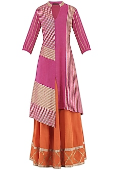Orange Gota Patti Embroidered Lehenga and Magenta Kurta Set