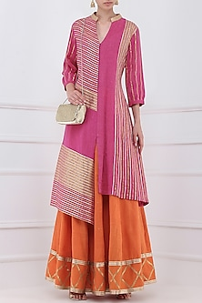 Orange Gota Patti Embroidered Lehenga and Magenta Kurta Set by Priya Agarwal