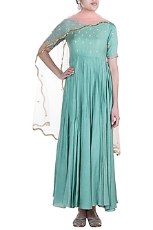 Sage Green Printed Anarkali Gown With Dupatta by Paulmi & Harsh