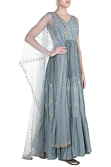Powder Blue Embroidered Anarkali Gown With Dupatta by Paulmi & Harsh