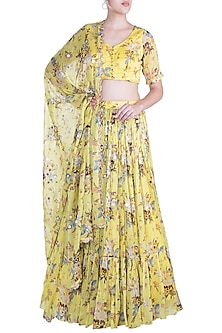 Lemon Yellow Embroidered Lehenga Set by Paulmi & Harsh