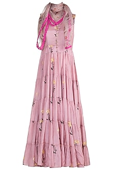 Pink Printed Maxi Dress With Scarf by Paulmi & Harsh