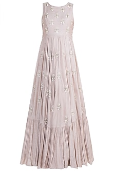 Dusty Pink Embroidered Pleated Gown With Dupatta by Paulmi & Harsh