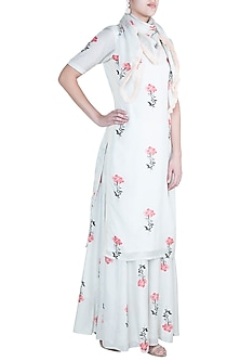 Off White Printed Kurta Set by Paulmi & Harsh