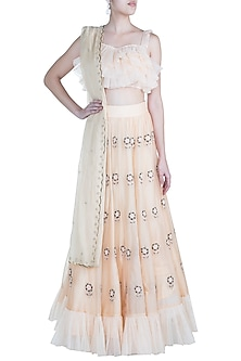 Peach Embroidered Lehenga Set by Paulmi & Harsh
