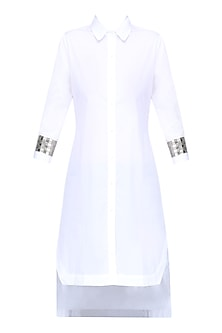 White Hand Beadwork Shirt Dress