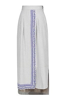 Grey and Blue Hand Embroidered Beadwork Skirt