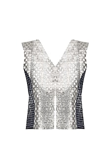 Navy Blue Beaded and Block Printed Gilet