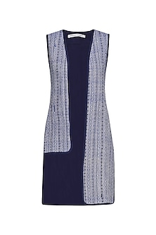 Blue and Grey Handwoven Asymmetric Cape
