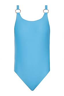 Blue deep back one piece swimsuit