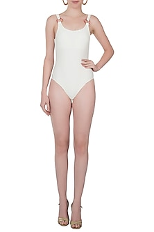 White deep back one piece swimsuit by PA.NI Swimwear