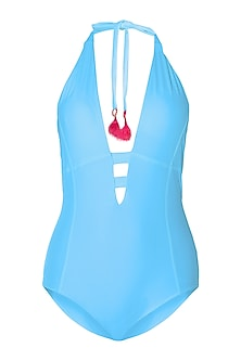 Sky blue halter one piece by PA.NI Swimwear