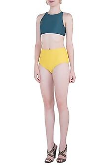 Yellow high-waisted bikini bottom by PA.NI Swimwear