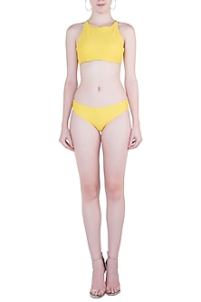 Yellow Halter Bikini Top by Pa.Ni Swimwear