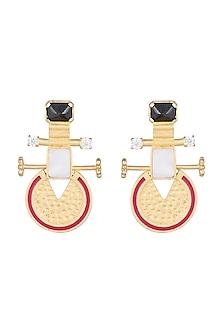 Matt Gold Finish Enameled Semi- Precious Stone Earrings by Paroma Popat