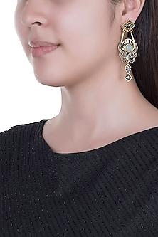 Gold Finish Enameled Gunmetal & Glass Stone Earrings by Paroma Popat