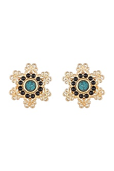 Gold Finish Black Onyx & Turquoise Stone Earrings by Paroma Popat