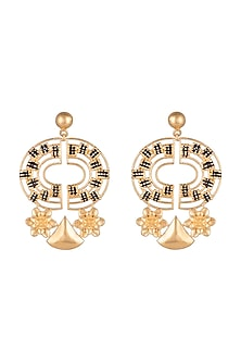 Gold Finish Enameled Earrings by Paroma Popat