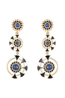 Gold Finish Enameled Lapis & Cubic Zirconia Earrings by Paroma Popat