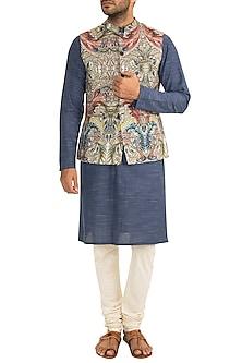 Cream Printed Bundi Jacket by Project Bandi