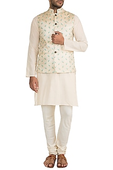 Cream & Gold Butti Embroidered Bundi Jacket by Project Bandi