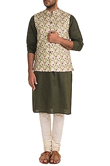 Sage Green Printed Bundi Jacket by Project Bandi