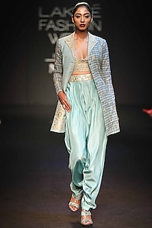 Egg Blue Embroidered Printed Long Jacket With Bralette & Dhoti Pants by Punit Balana