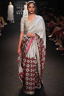 Grey Printed & Embroidered Saree Set by Punit Balana