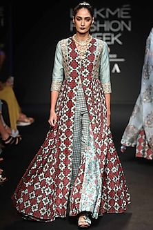 Robin Egg Blue Embroidered & Printed Long Slit Dress With Pants by Punit Balana