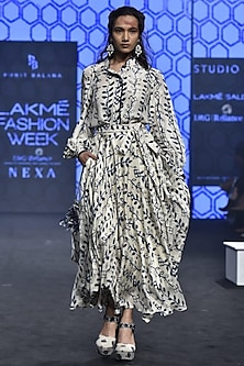 Ivory Printed Shirt With Skirt by Punit Balana