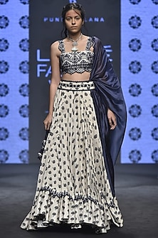 Ivory Butti Printed & Embroidered Lehenga Set by Punit Balana