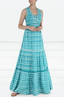 Sky blue and white ikkat tiered maxi dress by PABLE