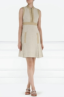 Beige leather patched shift dress by PABLE