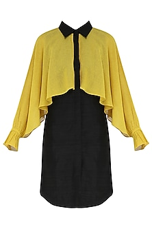 Black and mustard yellow front open shirt dress by PABLE