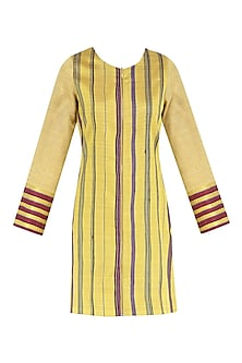 Mustard yellow mat weave jacket dress by PABLE