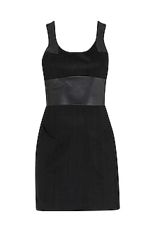 Black leather patched dress by PABLE