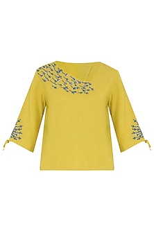 Mustard Yellow Sequins Embroidered Top by PABLE